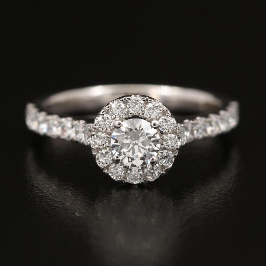 14K 1.00 CTW Diamond Halo Ring