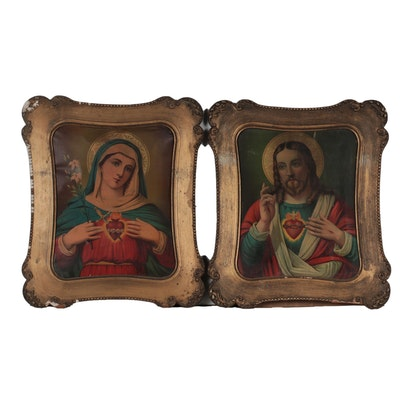 Chromolithographs of Sacred Hearts of Christ and Mary