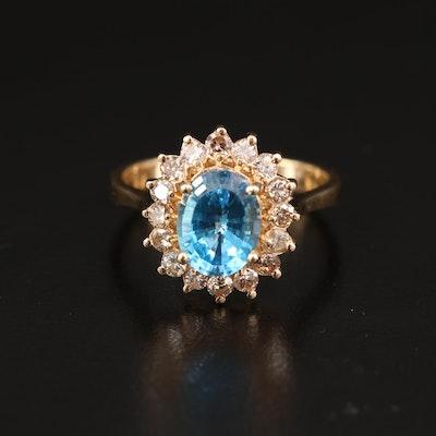 14K Topaz and Diamond Halo Ring