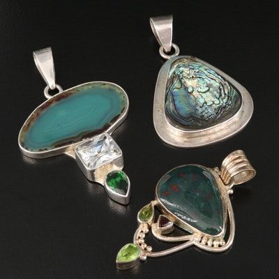 Sterling Silver Bloodstone, Abalone and Agate Pendants