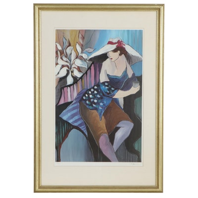 """Patricia Govezensky Offset Lithograph """"Woman in Blue"""""""