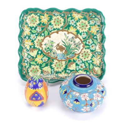 """Émaux de Longwy Hand-Painted Ceramic """"Florence"""" Vase, """"Marrakesh"""" Egg, and Tray"""