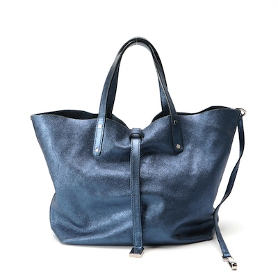 Tiffany & Co. Metallic Blue Leather Reversible Tote