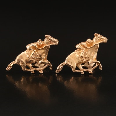14K Jockey and Race Horse Earrings