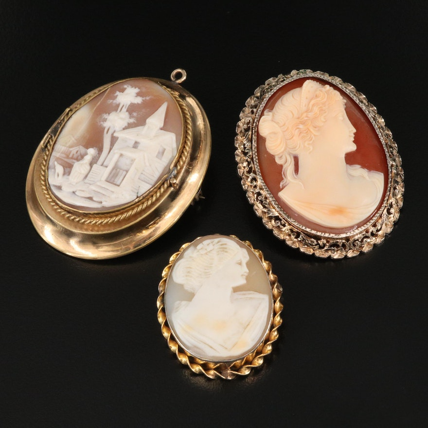 Vintage Shell Cameo Converter Brooches Including Sterling