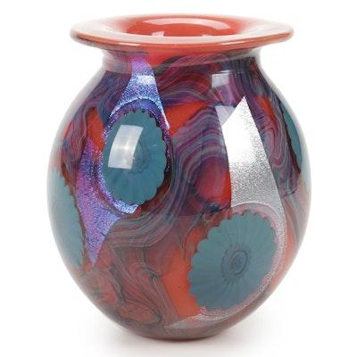 """Robert Eickholt Handblown """"Red Deep Sea"""" Dichroic Art Glass Vase, 2010"""