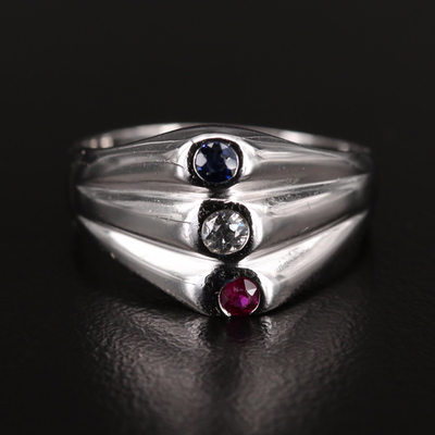 14K Diamond and Gemstone Ring