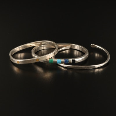 Mexican Sterling Silver Bangles with Hammered Cuff