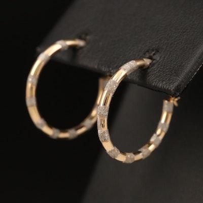 Israeli 14K Two-Tone Gold Hoop Earrings