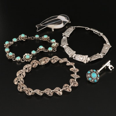 Sterling Bracelets and Brooches Featuring R & F Milliron Zuni Inlay Bird Brooch