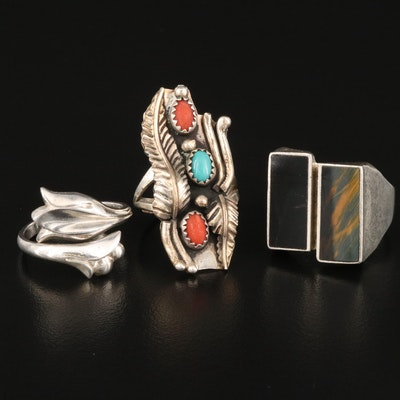 Mexican Sterling Silver Coral, Turquoise and Tiger's Eye Rings