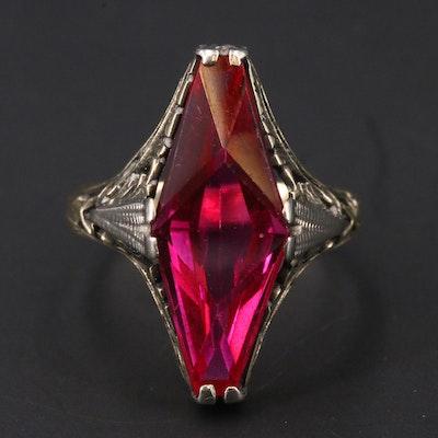 Antique Edwardian 14K Ruby openwork Mavette Ring