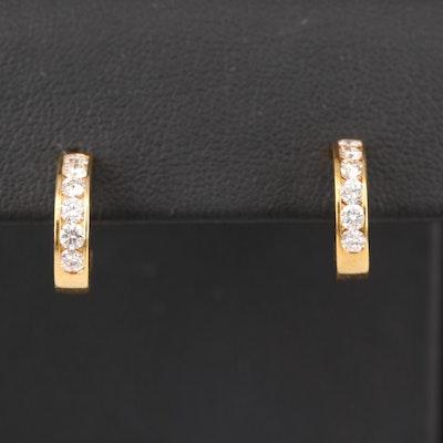 18K Diamond Channel Half Hoop Earrings