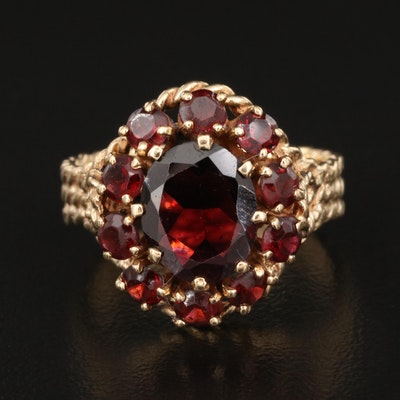 14K Garnet Ring with Cable Shank