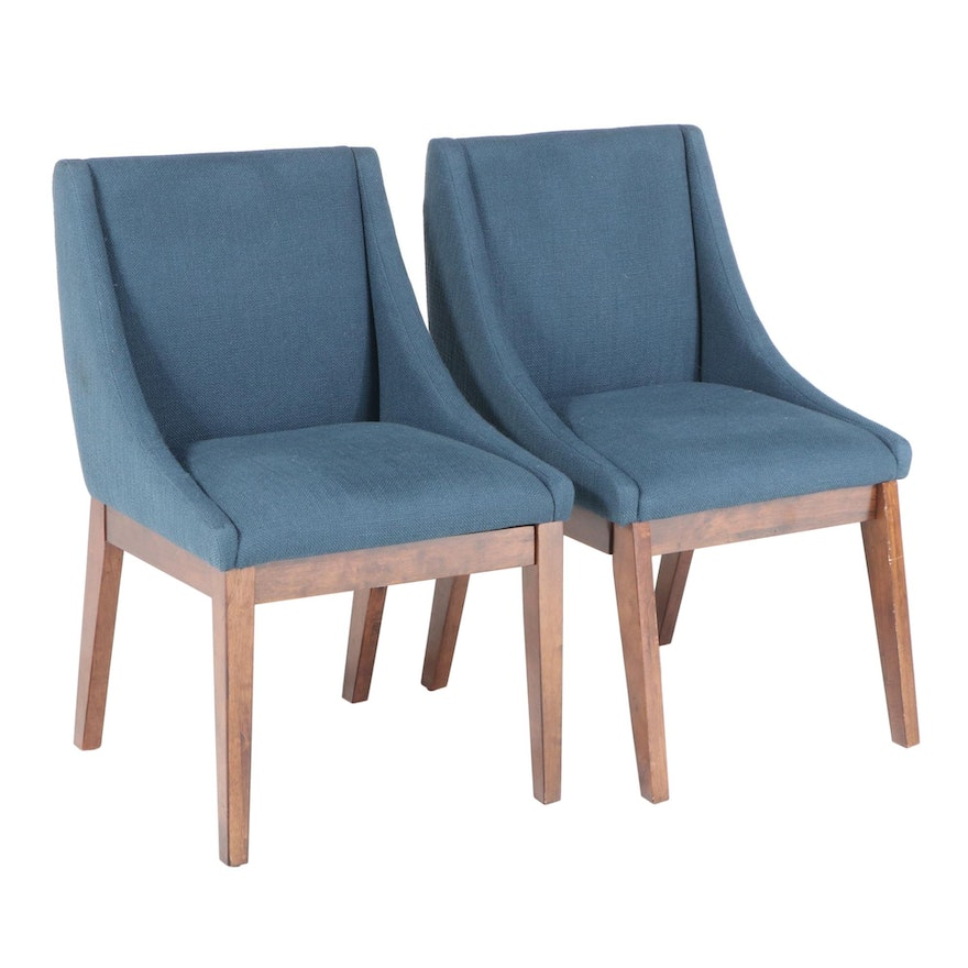 Pair of E & E Co. Modernist Style Upholstered Hardwood Side Chairs