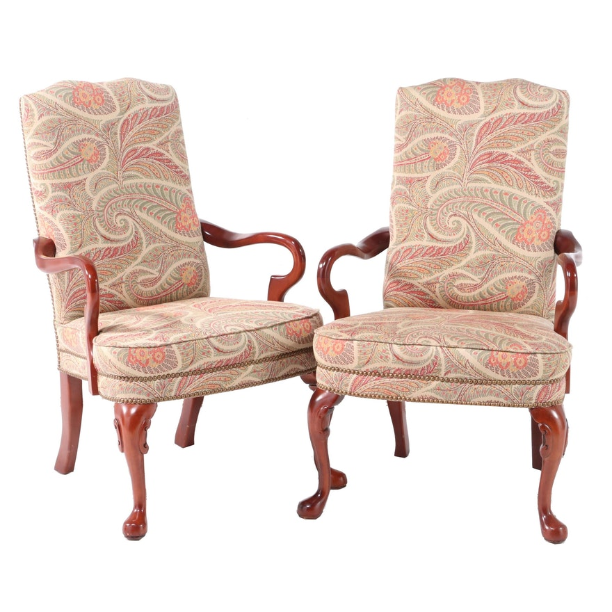 Pair of Queen Anne Style Brass-Tacked and Upholstered Cherrywood Armchairs