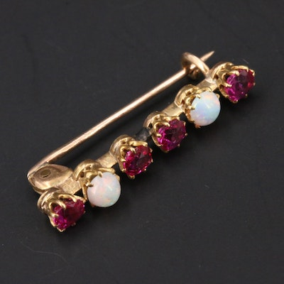 """Victorian 14K Ruby and Opal """"Beauty"""" Pin"""