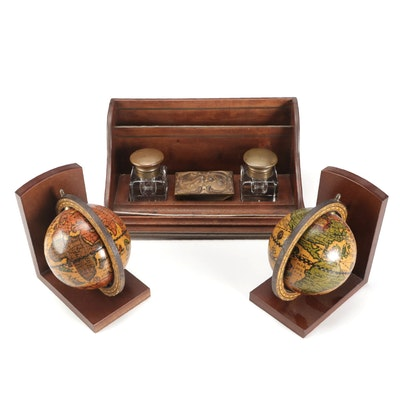 Edwardian Wooden Desk Organizer with Inkwells and Other Bookends