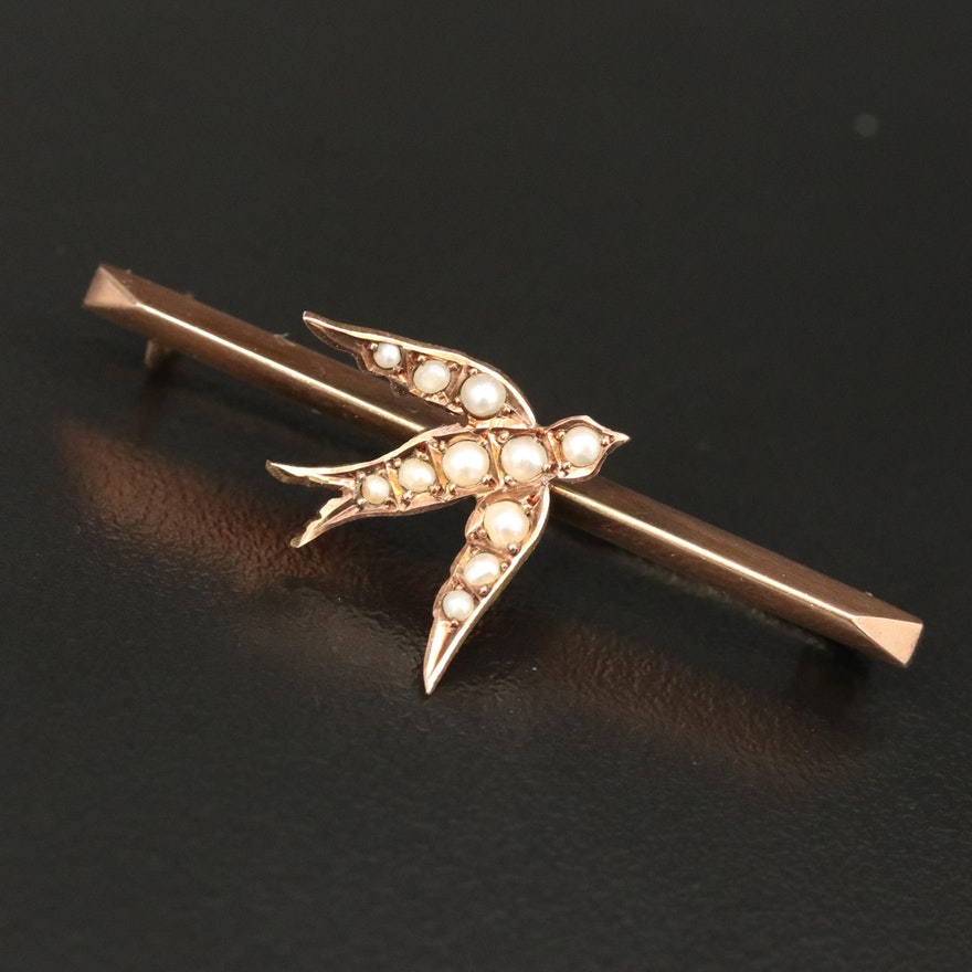 Victorian E.J. Trevitt & Sons 9K Seed Pearl Swallow Knife-Edge Brooch