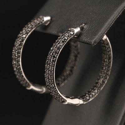 Sterling Black Spinel Inside-Out Hoop Earrings