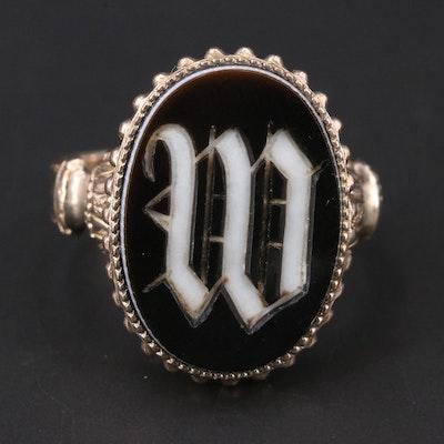 "Victorian 10K Onyx ""W"" Intaglio Signet Ring"