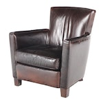 Lee Industries Art Deco Style Brown Leather Club Chair