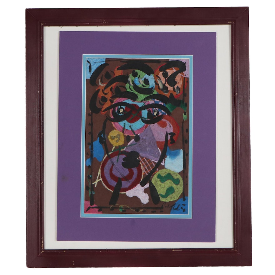 Peter Keil Abstract Mixed Media Drawing, Late 20th Century
