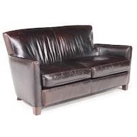 Lee Industries Art Deco Style Brown Leather Loveseat