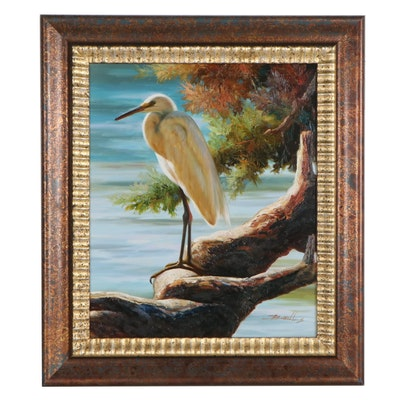 Wildlife Oil Painting of Egret, 21st Century