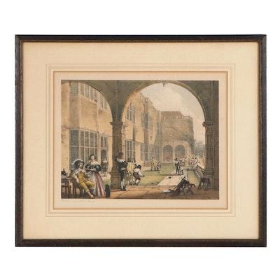 "Joseph Nash Hand-Colored Lithograph ""Terrace, Bramshill, Hants"""