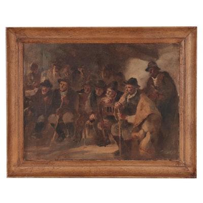 Gaetano Previati Interior Genre Scene Oil Painting