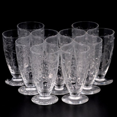 Floral Etched Footed Water Glasses