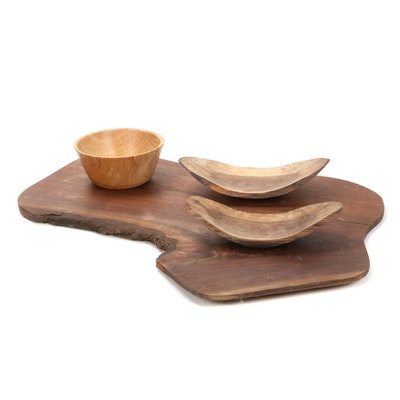 Jim Eliopulos Turned Walnut and Curly Maple Bowls with Walnut Charcuterie Board