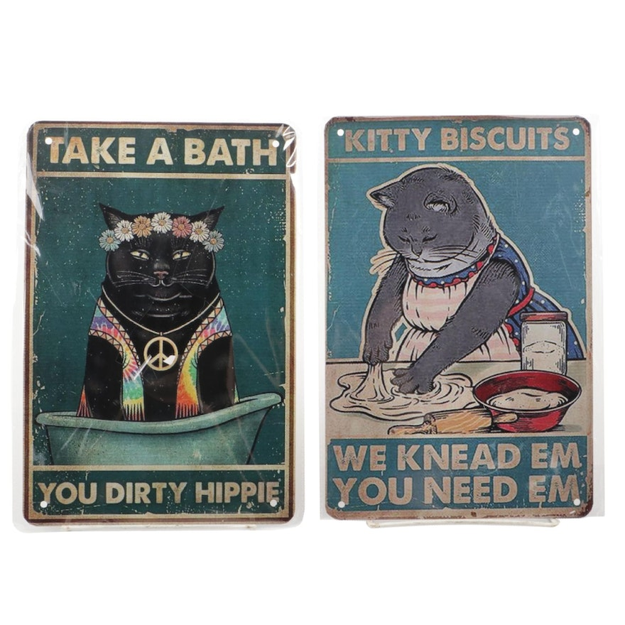 Giclée on Tin of Cat Making Biscuits and Taking a Bath, 21st Century