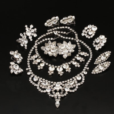 Rhinestone Necklaces and Clip Earrings