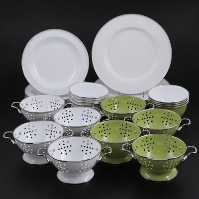 White and Avocado Green Enamelware Plates, Bowls and Colanders