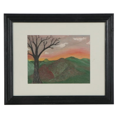 Landscape Oil Painting of Barren Tree and Sunset, Late 20th Century