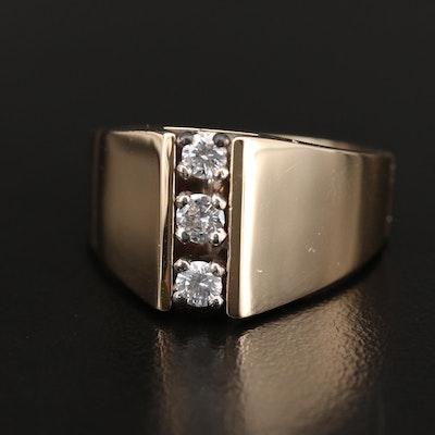 14K Diamond Three Stone Ring