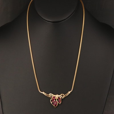 14K Italian Gold Ruby and Diamond Necklace