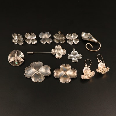 Sterling and 900 Silver Floral Themed Jewelry Including Stuart Nye