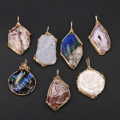 Wire Wrapped Pendants Including Polished Agate Jadeite, Azurmalachite and Others