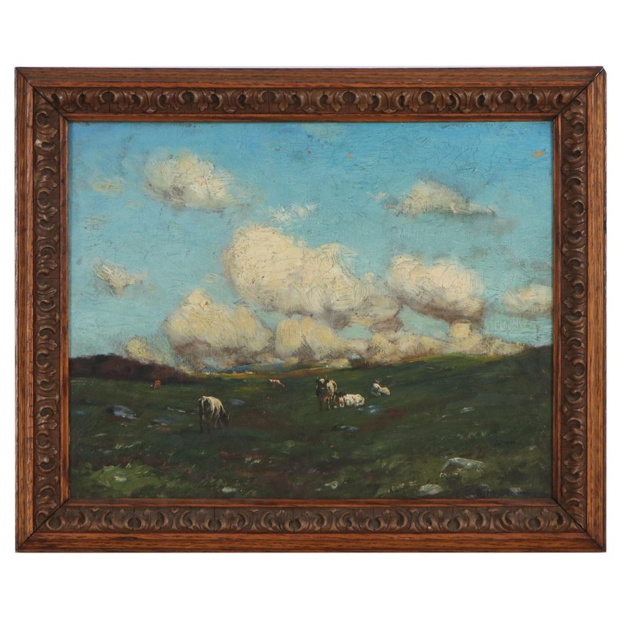 Pastoral Landscape Oil Painting of Cows, Early 20th Century