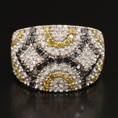 Sterling 1.33 CTW Pavé Diamond Patterned Tapered Band