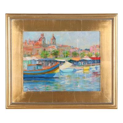 "Nino Pippa Oil Painting ""Malta-Fishing Village,"" 2016"