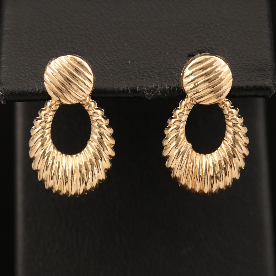14K Stud Earrings with Fluted Enhancers