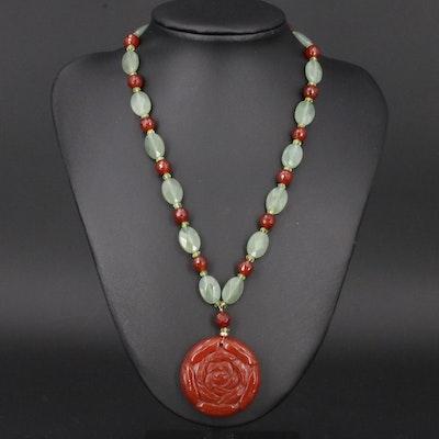 14K Carnelian and Serpentine Floral Motif Pendant Necklace