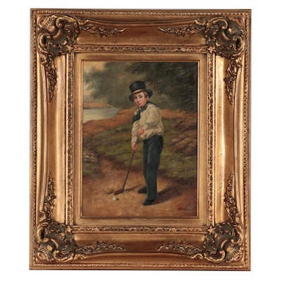 Oil Painting of Young Boy Playing Golf, Late 20th Century
