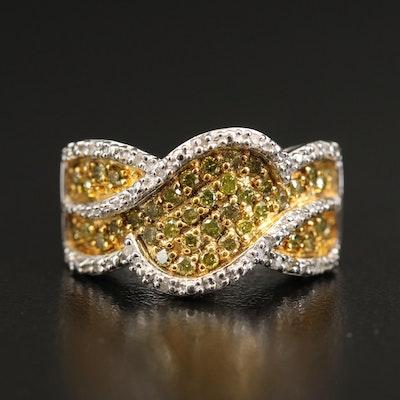 Sterling Pavé Diamond Ring with Yellow Diamonds