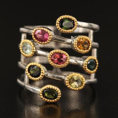 Sterling Silver Tourmaline Spiral Ring