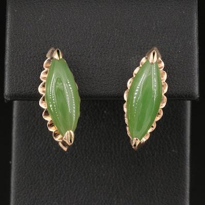 Vintage 10K Nephrite Navette Earrings
